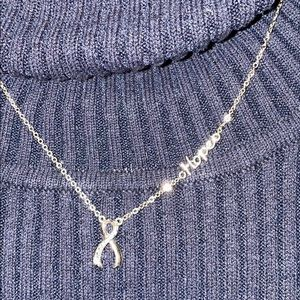 Lia Sophia silver Pink Ribbon 🎀 & hope necklace